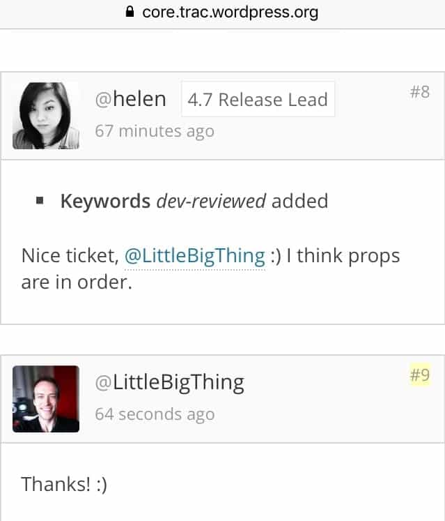 Props from Helen for a WordPress ticket