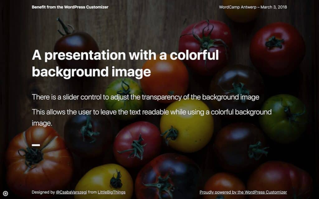 Presentation slide with a colorful background image with semi-transparent overlay